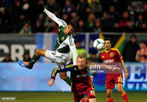 Ryan Johnson of Portland Timbers and Nat Borchers of Real Salt Lake go up for a ball during the second half of the game at JeldWen Field on November...