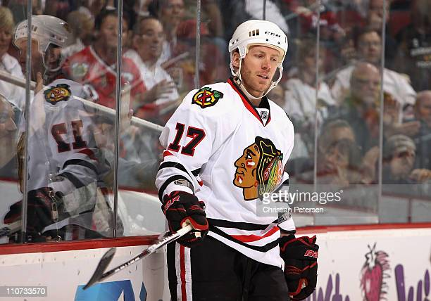 Ryan Johnson of the Chicago Blackhawks during the NHL game against the Phoenix Coyotes at Jobingcom Arena on March 20 2011 in Glendale Arizona The...