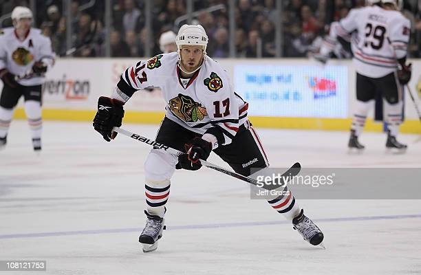 Ryan Johnson of the Chicago Blackhawks skates against the Los Angeles Kings at Staples Center on January 3 2011 in Los Angeles California The...