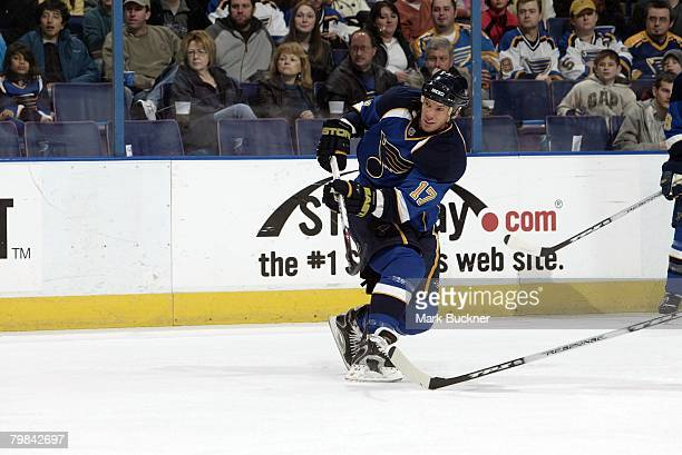 Ryan Johnson of the St Louis Blues on Sunday February 17 2008 at Scottrade Center in St Louis Missouri
