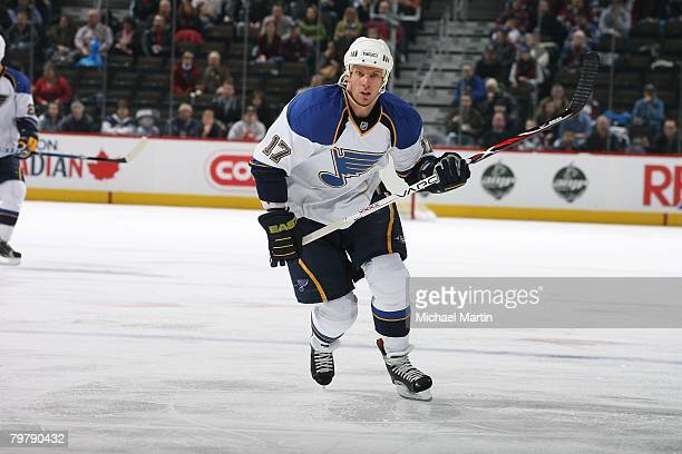 Ryan Johnson of the St Louis Blues skates against the Colorado Avalanche at the Pepsi Center on February 14 2008 in Denver Colorado The Blues...