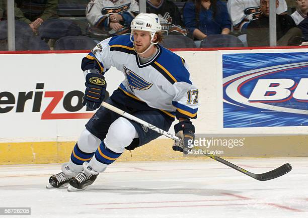 Ryan Johnson of the St Louis Blues skates against the Washington Capitals on January 19 2006 at MCI Center in Washington DC The Capitals defeated the...