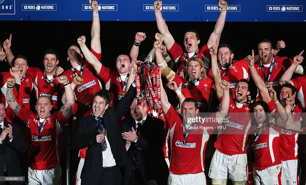 Ryan Jones (L) and Gethin Jenkins of Wales lift the trophy after the RBS Six Nations match between Wales and England at Millennium Stadium on March 16, 2013 in Cardiff, Wales.