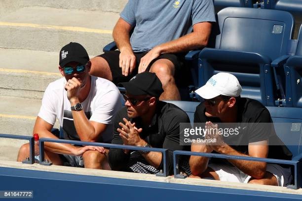 Ryan Jones coach of Kyle Edmund of Great Britain looks on during his players third round match against Denis Shapovalov of Canada on Day Five of the...