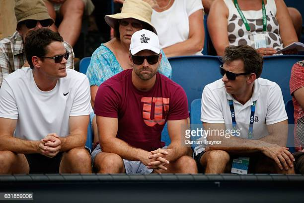 Ryan Jones coach of Kyle Edmund of Great Britain watches his match against Santiago Giraldo of Colombia on day two of the 2017 Australian Open at...