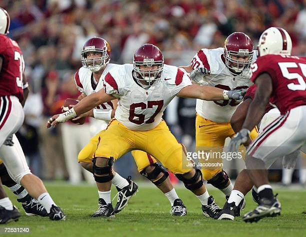 Ryan Kalil of the USC Trojans blocks the line during the game against the Stanford Cardinal on November 4, 2006 at Stanford Stadium in Palo Alto,...
