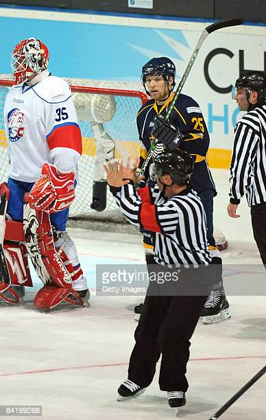 Ryan Keller of Espoo Blues makes a second goal during the IIHF Champions Hockey League semi-final match between Espoo Blues and ZSC Lions Zurich at...