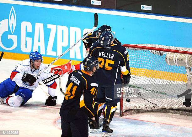 Ryan Keller of Espoo Blues makes the second goal during the IIHF Champions Hockey League semi-final match between Espoo Blues and ZSC Lions Zurich at...
