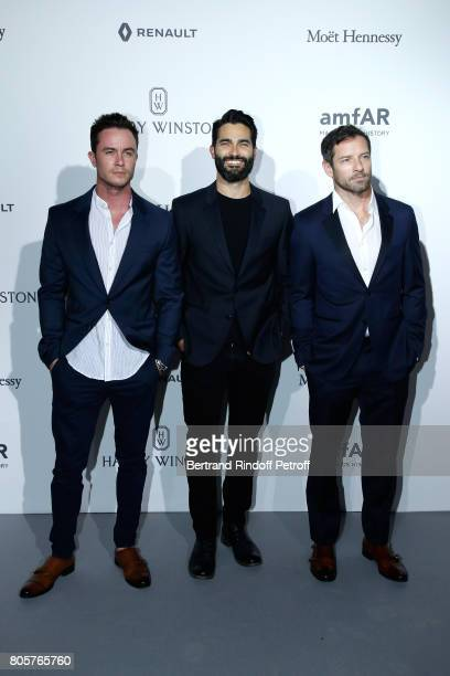Ryan Kelley Tyler Hoechlin and Ian Bohem attends the amfAR Paris Dinner 2017 at Le Petit Palais on July 2 2017 in Paris France