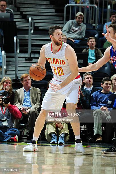 Ryan Kelly of the Atlanta Hawks handles the ball against the Detroit Pistons on December 2 2016 at Philips Arena in Atlanta Georgia NOTE TO USER User...