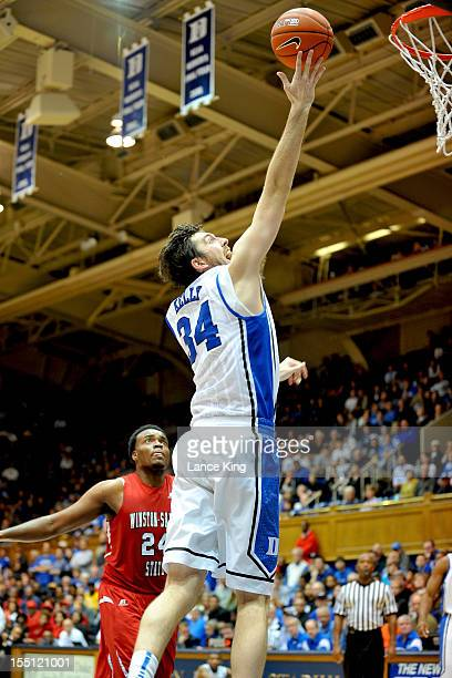 Ryan Kelly of the Duke Blue Devils goes to the hoop against the WinstonSalem State Rams at Cameron Indoor Stadium on November 1 2012 in Durham North...