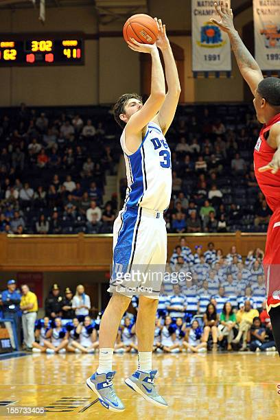 Ryan Kelly of the Duke Blue Devils puts up a shot against the WinstonSalem State Rams at Cameron Indoor Stadium on November 1 2012 in Durham North...