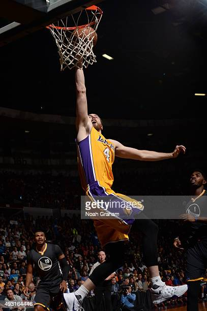 Ryan Kelly of the Los Angeles Lakers goes to the basket against the Golden State Warriors during a preseason game on October 17, 2015 at Valley View...