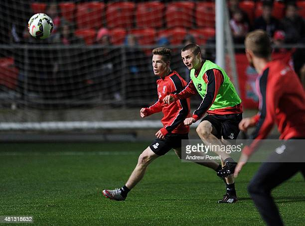 Ryan Kent and Jordan Rossiter of Liverpool in action during a training session at Coopers Stadium on July 19 2015 in Adelaide Australia
