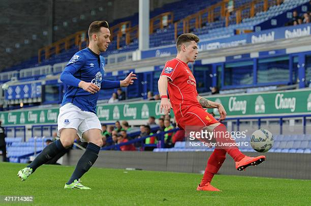 Ryan Kent of Liverpool and Gethin Jones of Everton in action during the U21 Premier League match between Everton and Liverpool at Goodison Park on...