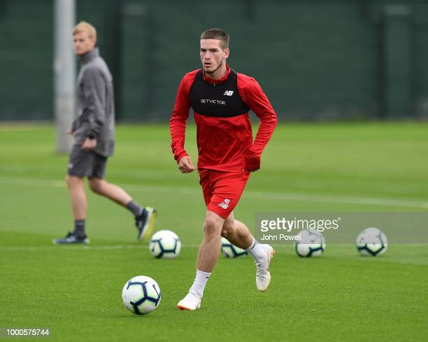 Ryan Kent of Liverpool during a training session at Melwood Training Ground on July 17 2018 in Liverpool England