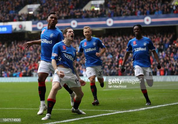 Ryan Kent of Rangers celebrates after he scores the opening goal during the Scottish Ladbrokes Premiership match between Rangers and Hearts at Ibrox...