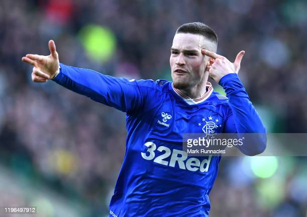 Ryan Kent of Rangers celebrates after scoring his sides first goal during the Ladbrokes Premiership match between Celtic and Rangers at Celtic Park...
