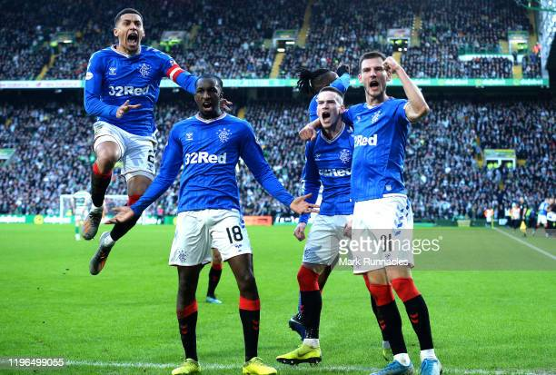 Ryan Kent of Rangers celebrates after scoring his sides first goal with team mates during the Ladbrokes Premiership match between Celtic and Rangers...