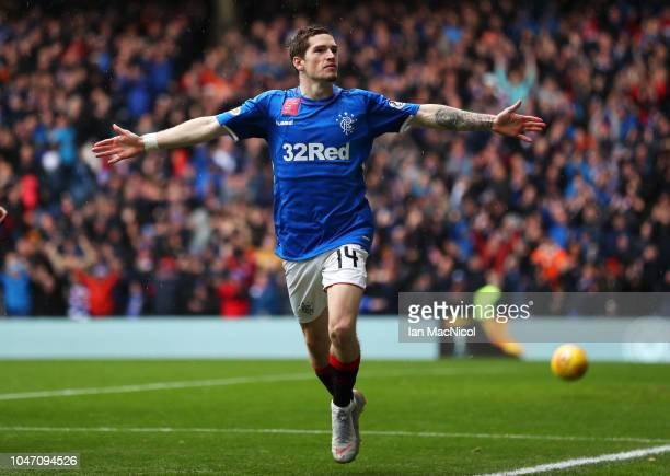 Ryan Kent of Rangers celebrates as he scores his team's first goal during the Scottish Ladbrokes Premiership match between Rangers and Hearts at...