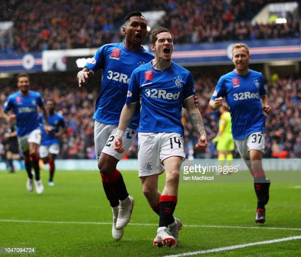 Ryan Kent of Rangers celebrates as he scores his team's first goal with team mate Alfredo Morelos of Rangers during the Scottish Ladbrokes...