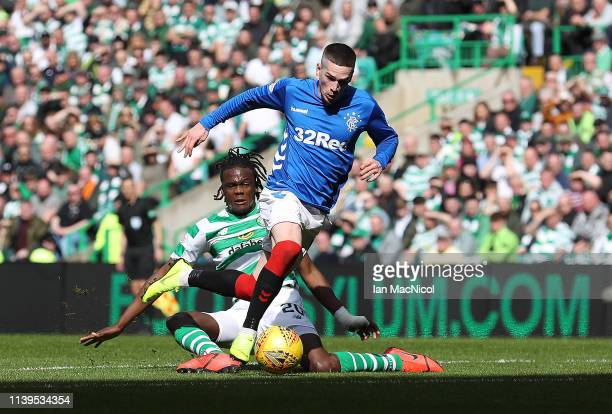 Ryan Kent of Rangers evades Dedryck Boyata of Celtic on his way to scoring during The Ladbrokes Scottish Premier League match between Celtic and...