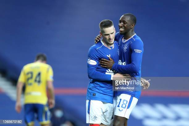 Ryan Kent of Rangers FC celebrates with Ianis Hagi after scoring his team's second goal during the Ladbrokes Scottish Premiership match between...