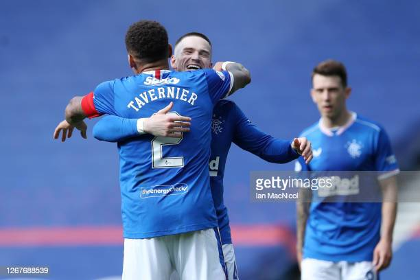 Ryan Kent of Rangers FC celebrates with teammate James Tavernier after scoring his team's second goal during the Ladbrokes Scottish Premiership match...