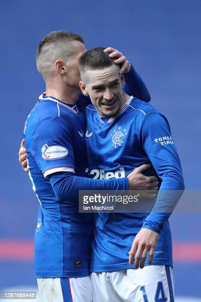 Ryan Kent of Rangers FC celebrates with teammate Steven Davis of Rangers FC after scoring their team's second goal during the Ladbrokes Scottish...