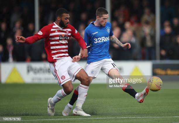 Ryan Kent of Rangers scores his team's opening goal during the Scottish Ladbrokes Premiership match between Hamilton Academicals and Rangers at New...