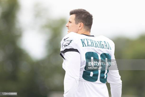 Ryan Kerrigan of the Philadelphia Eagles walks onto the field during training camp at the NovaCare Complex on August 4, 2021 in Philadelphia,...