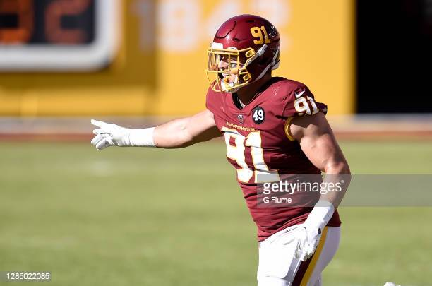 Ryan Kerrigan of the Washington Football Team celebrates after a defensive stop against the New York Giants at FedExField on November 8, 2020 in...