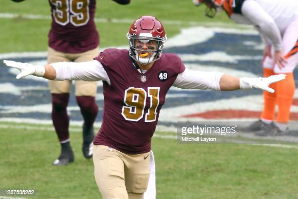 Ryan Kerrigan of the Washington Football Team reacts to a play during a NFL football game against the Washington Football Team on November 22, 2020...