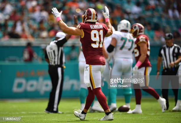 Ryan Kerrigan of the Washington Redskins celebrates against the Miami Dolphins in the first quarter at Hard Rock Stadium on October 13, 2019 in...