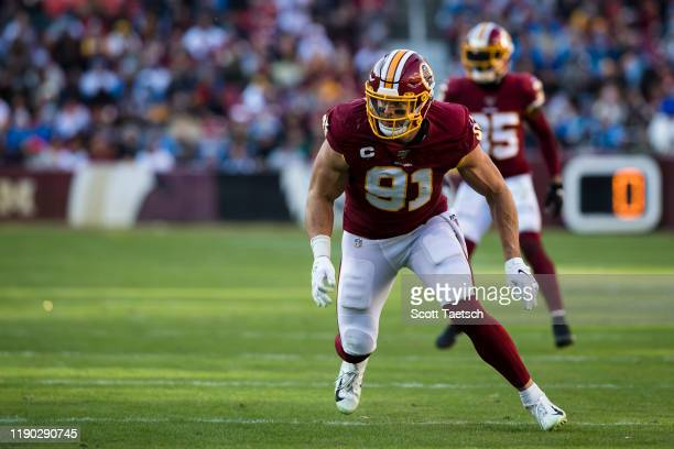 Ryan Kerrigan of the Washington Redskins in action against the Detroit Lions during the second half at FedExField on November 24, 2019 in Landover,...