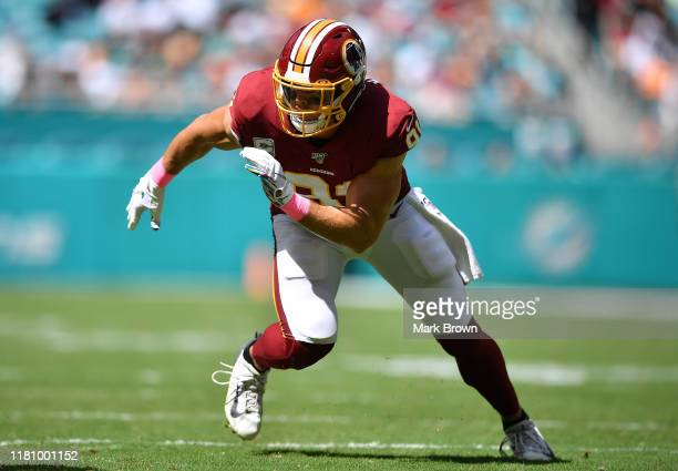 Ryan Kerrigan of the Washington Redskins in action against the Miami Dolphins in the first quarter at Hard Rock Stadium on October 13, 2019 in Miami,...