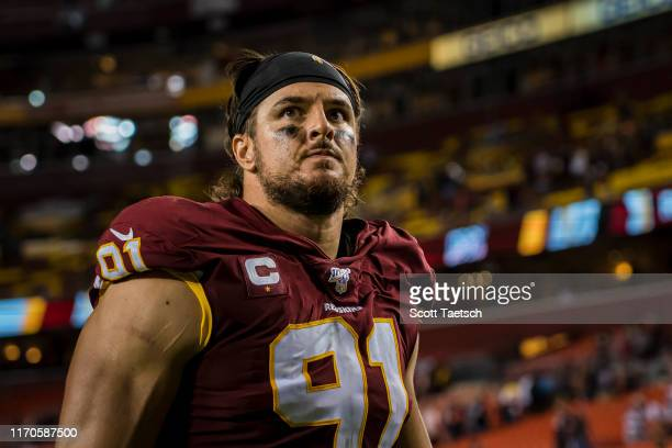 Ryan Kerrigan of the Washington Redskins leaves the field after the game against the Chicago Bears at FedExField on September 23, 2019 in Landover,...