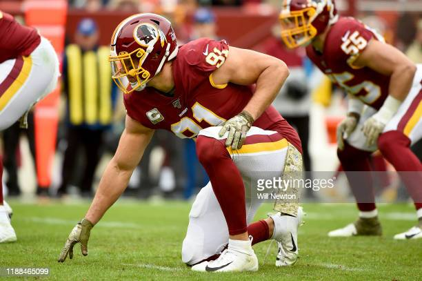 Ryan Kerrigan of the Washington Redskins lines up against the New York Jets during the second half at FedExField on November 17, 2019 in Landover,...