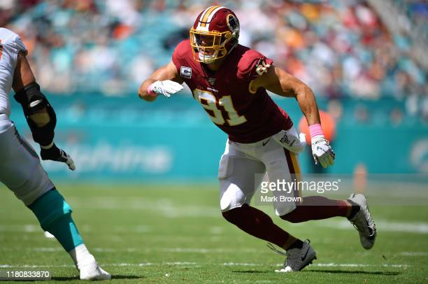 Ryan Kerrigan of the Washington Redskins rushes the quarterback against the Miami Dolphins in the second quarter at Hard Rock Stadium on October 13,...