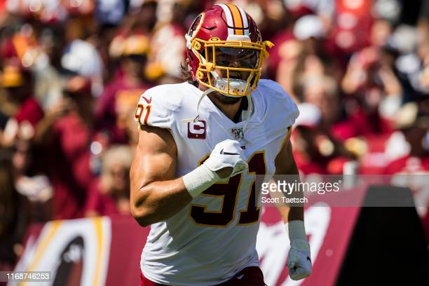 Ryan Kerrigan of the Washington Redskins takes the field before the game against the Dallas Cowboys at FedExField on September 15, 2019 in Landover,...