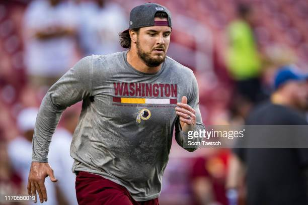 Ryan Kerrigan of the Washington Redskins warms up before the game against the Chicago Bears at FedExField on September 23, 2019 in Landover, Maryland.