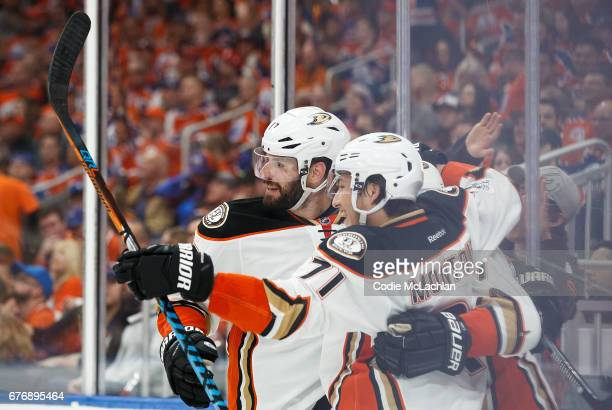Ryan Kesler and Brandon Montour of the Anaheim Ducks celebrate Kesler's goal against the Edmonton Oilers in Game Three of the Western Conference...