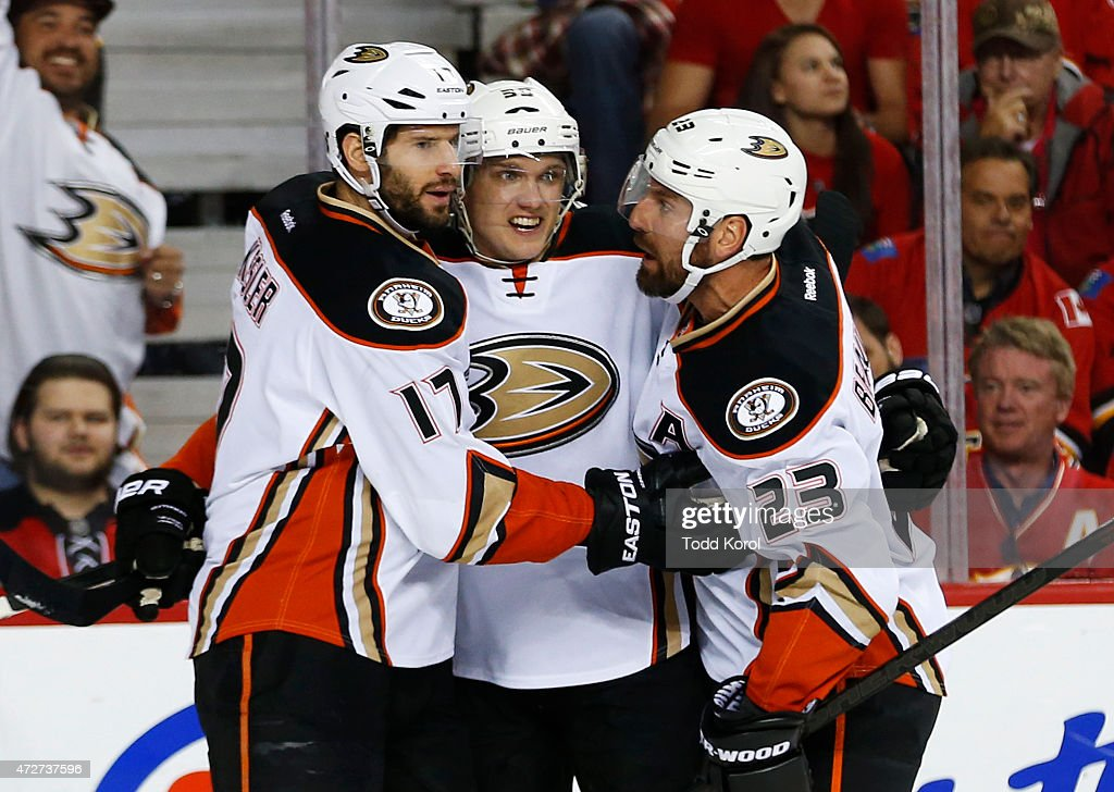 Ryan Kesler #17, Jakob Silfverberg #33 and Francois Beauchemin #23 of the Anaheim Ducks celebrates Silfverberg's goal against the Calgary Flames in Game Four of the Western Conference Semifinals during the 2015 Stanley Cup Playoffs at the Scotiabank Saddledome on May 8, 2015 in Calgary, Alberta, Canada.
