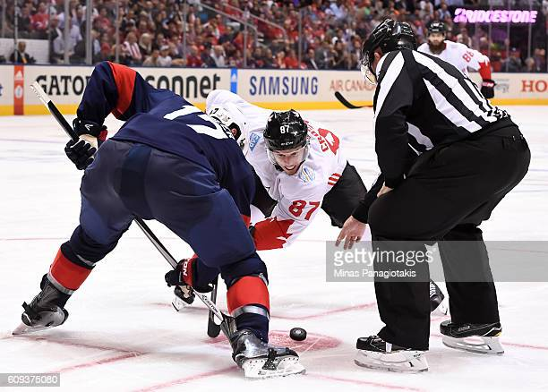 Ryan Kesler of Team USA faces-off against Sidney Crosby of Team Canada during the World Cup of Hockey 2016 at Air Canada Centre on September 20, 2016...