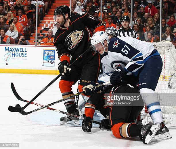 Ryan Kesler of the Anaheim Ducks battles for position against Tyler Myers of the Winnipeg Jets in Game Two of the Western Conference Quarterfinals...