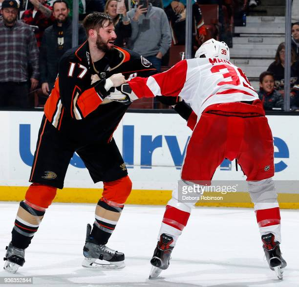 Ryan Kesler of the Anaheim Ducks battles in a fight against Anthony Mantha of the Detroit Red Wings during the game on March 16 2018 at Honda Center...
