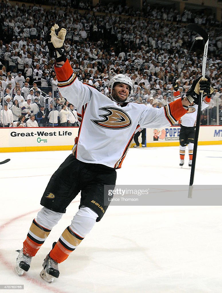 Ryan Kesler #17 of the Anaheim Ducks celebrates a third period goal against the Winnipeg Jets in Game Four of the Western Conference Quarterfinals during the 2015 NHL Stanley Cup Playoffs on April 22, 2015 at the MTS Centre in Winnipeg, Manitoba, Canada.