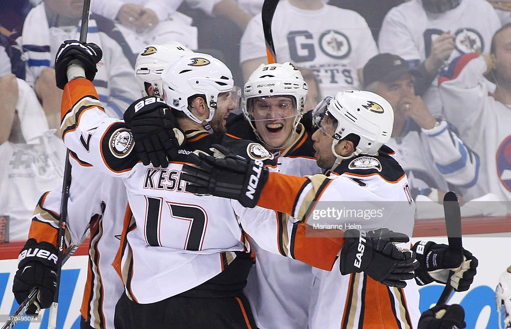 Ryan Kesler #17 of the Anaheim Ducks celebrates his game-tying goal in third-period action in Game Three of the Western Conference Quarterfinals against the Winnipeg Jets during the 2015 NHL Stanley Cup Playoffs at the MTS Centre on April 20, 2015 in Winnipeg, Manitoba, Canada.