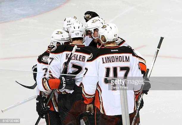 Ryan Kesler of the Anaheim Ducks celebrates his second period goal against the Winnipeg Jets with teammates at the MTS Centre on March 20 2016 in...