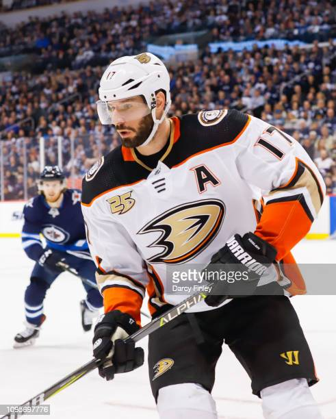 Ryan Kesler of the Anaheim Ducks keeps an eye on the play during third period action against the Winnipeg Jets at the Bell MTS Place on January 13...